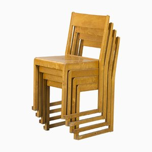 Swedish Birch Stacking Chairs by Sven Markelius for Bodafors, 1932, Set of 4