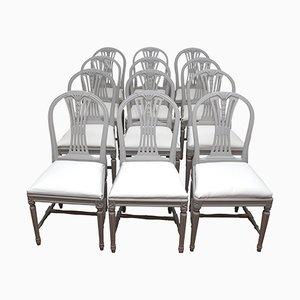 Chaises de Salon Style Gustavien Vintage en Gris Clair, Suède, Set de 6