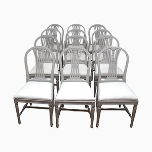 Vintage Swedish Gustavian Style Light Grey Dining Chairs, Set of 6