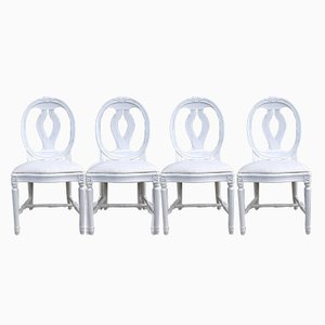 Antique Swedish Gustavian Style Dining Chairs with Oval Backs, Set of 4