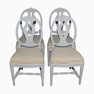 Chaises de Salle à Manger Peintes Style Gustavien Antiques, Suède, Set de 4