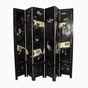 Biombo japonés lacado en negro y pintado, años 20