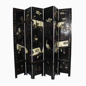 Japanese Black Lacquered and Painted Room Divider Screen, 1920s
