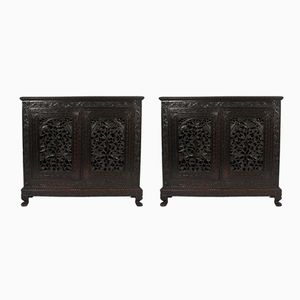 Antique Carved Wood Anglo-Indian Cabinets, Set of 2