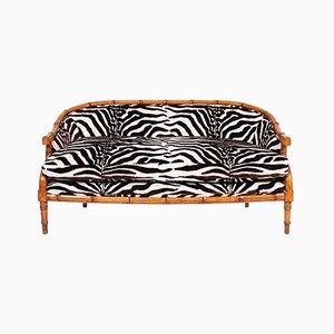 French Faux Bamboo & Zebra Print Sofa, 1920s