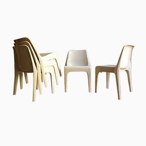 Sedie impilabili bianche in plastica di Schröder & Henzelmann, anni '70, set di 6