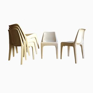 White Stackable Plastic Chairs from Schröder & Henzelmann, 1970s, Set of 6