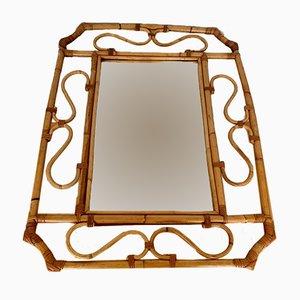 Specchio Mid-Century in vimini, Francia, anni '60
