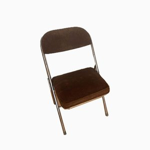 Vintage Steel and Corduroy Folding Chair, 1970s