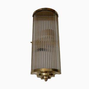 Italienische Art Deco Wandlampe aus Glas & Messing, 1940er