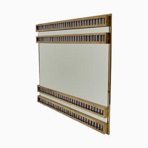 Espejo de pared Mid-Century de latón y vidrio, años 50