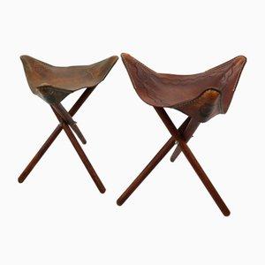 Dreibeinige mexikanische Sattelhocker mit Sitz aus Leder, 1940er, 2er Set