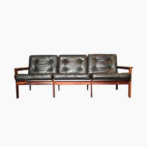 Sofá de palisandro y cuero de Illum Wikkelso para Niels Eilersen, años 60