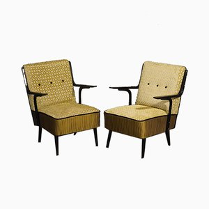 Art Deco Green Velvet & Black Lacquered Wood Armchairs, 1940s, Set of 2