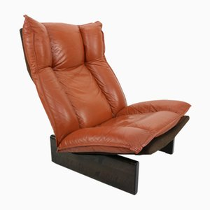 Cognac Leather & Wood Lounge Chair, 1970s