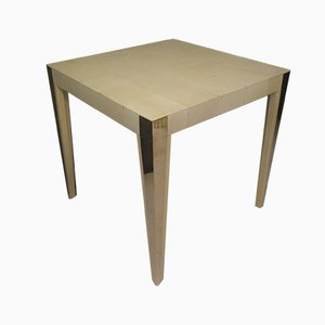 Mid-Century Italian Square Goat Skin and Brass Side Tables, 1950s, Set of 2