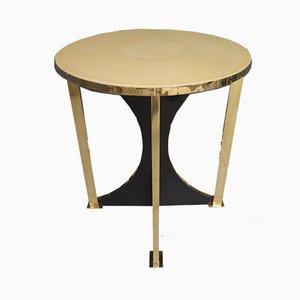 Tables d'Appoint Mid-Century en Laiton et Cuir de Chèvre, 1960s, Set de 2