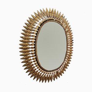Espejo vintage con hojas doradas de hierro forjado, años 60