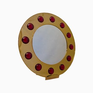 Mid-Century Brass & Red Murano Glass Wall Mirror, 1980s