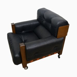 Walnut & Leather Armchair with Wheels from Cinova, 1970s