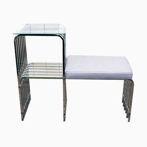 Vintage Italian Chrome Bench, 1970s
