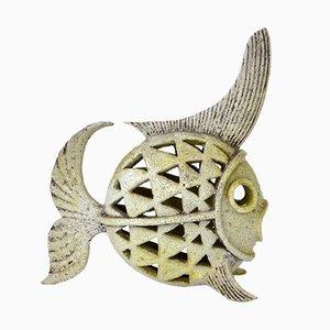 Französische Fischfigur aus Keramik, 1950er