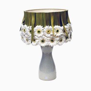 Lámpara de mesa de cerámica con margaritas, años 70