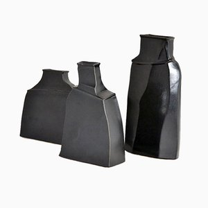 Black Stoneware Vases by Franco Bucci, 1970s, Set of 3
