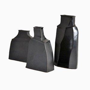 Schwarze Vasen aus Steingut von Franco Bucci, 1970er, 3er Set