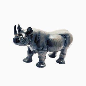 Escultura de rinoceronte de cerámica de Ronzan, años 60