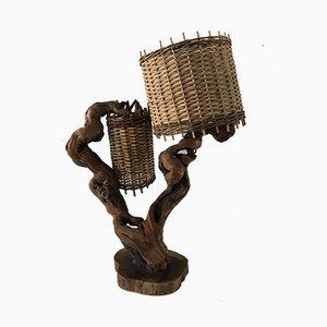 Mid-Century Holzlampe mit Schirmen aus Korbgeflecht von Maison CEP
