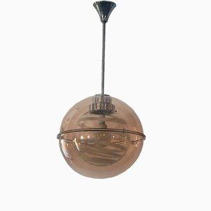 Lámpara colgante era espacial de vidrio y plexiglás, años 70