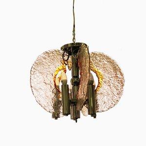 Lámpara de araña de vidrio soplado de Carlo Nason para Mazzega, años 70