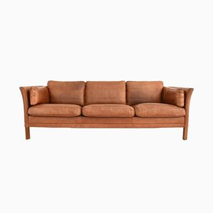 Vintage Danish Brown Leather 3 Seater Sofa by Mogens Hansen, 1960s