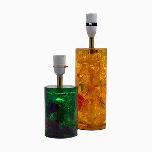 Bases de lámparas de mesa Shatterline de resina, años 60. Juego de 2