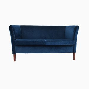 Vintage Danish Navy Blue Velvet 2 Seater Sofa, 1970s