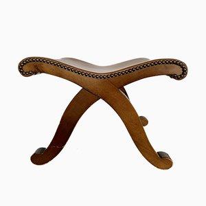 Taburete italiano vintage de cuero y madera, años 50