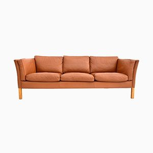 Vintage Danish Brown Leather 3 Seater Sofa from Stouby, 1960s