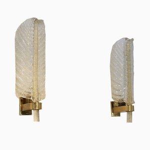 Apliques en forma de hoja de vidrio dorado de Barovier & Toso, años 50. Juego de 2