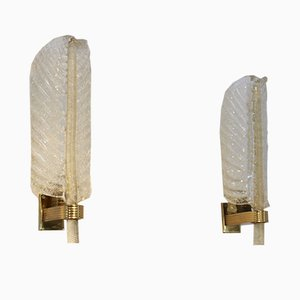 Gold Flaked Glass Leaf Sconces from Barovier & Toso, 1950s, Set of 2