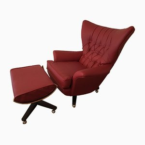 6250 Wing Back Swivel Chair & Footstool Set by Paul Conti for G-Plan, 1960s