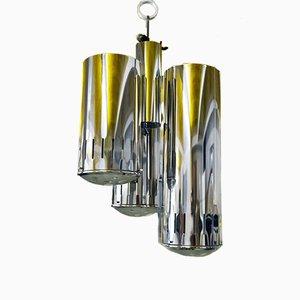Lámpara colgante de vidrio y latón cromado de Carlo Nason para Mazzega, años 60