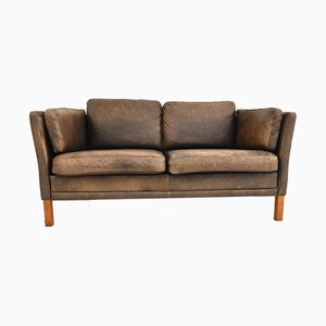 Sofá danés vintage de cuero marrón de Mogens Hansen, años 60