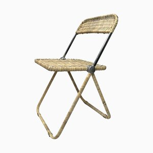 Vintage Rattan Folding Chair by Giancarlo Piretti for Anonima Castelli, 1980s