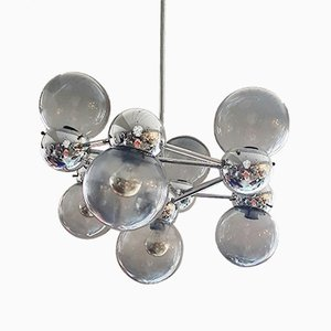 Italian Atomic Ceiling Lamp with Murano Bubbles and Chrome Mount, 1960s