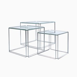 Isocele Chrome & Glass Nesting Tables by Max Sauze, 1960s