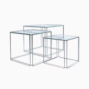 Tavolini a incastro Isocele in metallo cromato e vetro di Max Sauze, anni '60