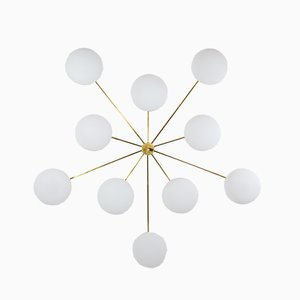 Brass & Opaline Glass Stella Cosmos Ceiling Lamp from Design for Macha
