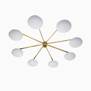Brass & Opaline Glass Stella Canopy Ceiling Lamp from Design for Macha
