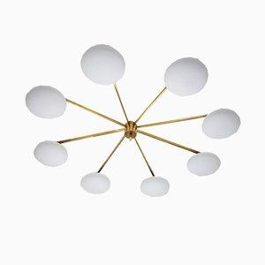 Lampada da soffitto Stella Canopy in vetro opalino e ottone di Design for Macha